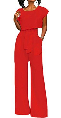 VLUNT Women's 2 Pieces Jumpsuits Outfit Crop Top Wide Leg Pants with Belt,Red-L (Red Pants Crop)