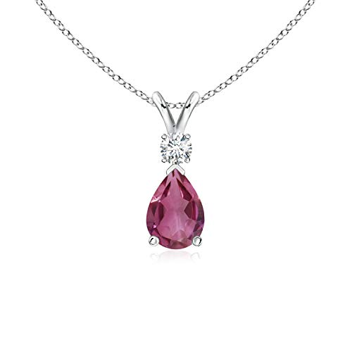 (Pink Tourmaline Teardrop Pendant with Diamond in Platinum (7x5mm Pink Tourmaline))