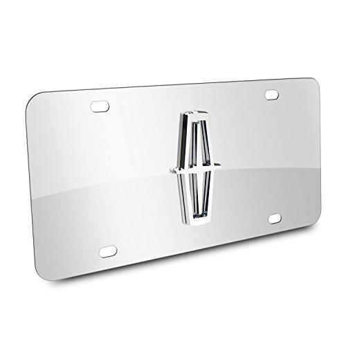 "Au-Tomotive Gold, INC. Lincoln 3D Logo Chrome Stainless Steel License Plate,Chrome,12""x6"""