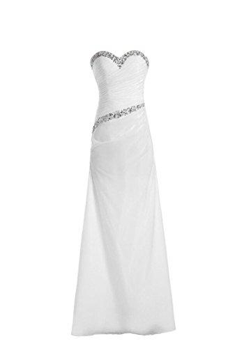 semplice rilievo lungo sera chiffon Angeldragon White lustrini con spalline abito senza da dpqw5U