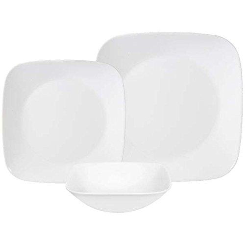 Corelle Square Pure White 18-Piece Dinnerware Set, Service for 6 (Uk White Square Dinner Plates)