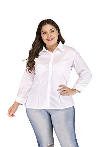 (SUNNOW Women's Plus-Size Button Down 3/4 Sleeve Solid Basic Woven Stretch Shirt White)
