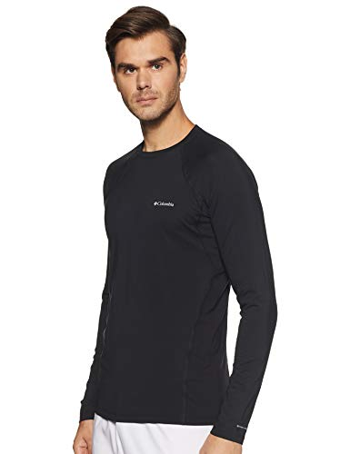 Columbia Men's Midweight Stretch Baselayer Long Sleeve Shirt, Black, XL