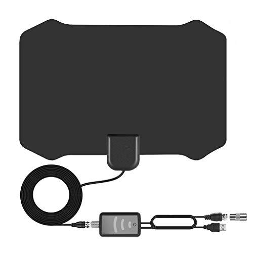 Signal Booster Digital TV Antenna 200 Mile Range Amplifier 1080P HDTV Indoor (Black)