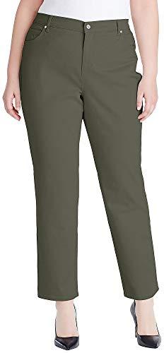 Olive Pants Jeans - Gloria Vanderbilt Plus Amanda Solid Jeans 18W Olive Leaf