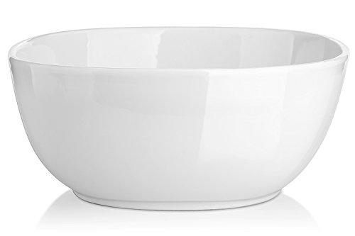 DOWAN 3-Packs Porcelain Serving/ Salad Bowls, 2.4 Quart White Fine Large Soup Bowl (Deep Soup Bowl)