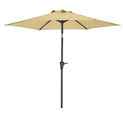 Patio Watcher Outdoor Market Patio Umbrella, 7-1/2 Ft Table Umbrella with Push Button Tilt and Crank,Beige