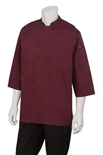 Chef Works Mens Morocco Short Sleeve Chef Coat, Merlot, 2X-Large by Chef Works
