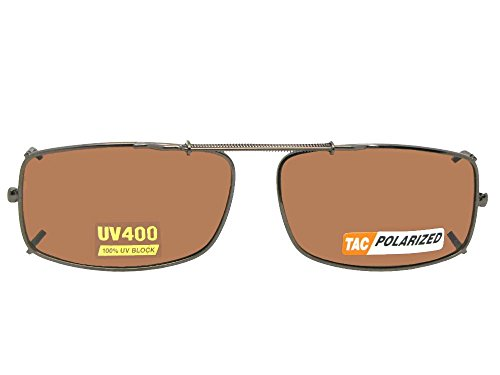 Slim Rectangle Polarized Clip On Sunglasses (Dark Bronze-Polarized Amber Lens, 56mm Width x 35mm - Clip On Glasses Dark