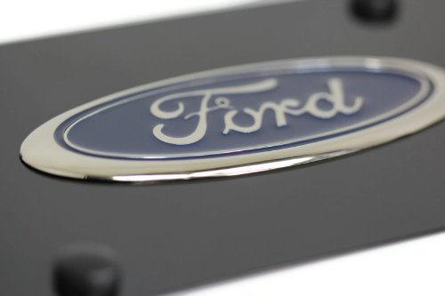 Ford Front License Plate Frame Chrome Logo on Gloss Black Stainless Steel Genuine Product Au-Tomotive Gold INC