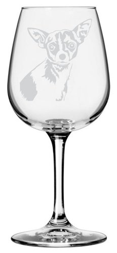 Chihuahua Dog Themed Etched All Purpose 12.75oz Libbey Wine Glass