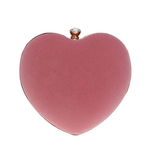 Women Clutch Shaped Evening Heart Ploekgda Pink2 colore rosso Bag WyfacfqwR