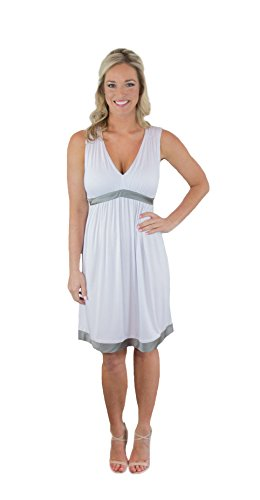 Charm Your Prince Women's Satin Silk Silver Grey Ribbon White Sundress M