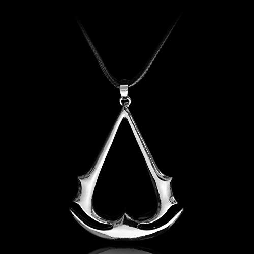 Assassins Creed Necklace Ezio Cosplay Pendant Silver Necklace Unity Stainless Steel Pendant Necklace For Men Women (Ac Creed Necklace)