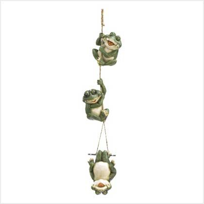 Trio of Frolicking Frogs Hanging Decor Figurine