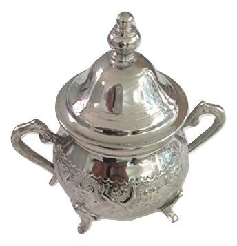 Moroccan Small Sugar Bowl Container for Tea Pot Set Handmade Brass Silver Plated Teapot Hand Carved In Fes Morocco