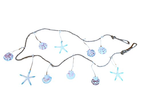 75-Coastal-Blue-and-White-Seashells-Rope-Garland-Swag-Indoor-Outdoor