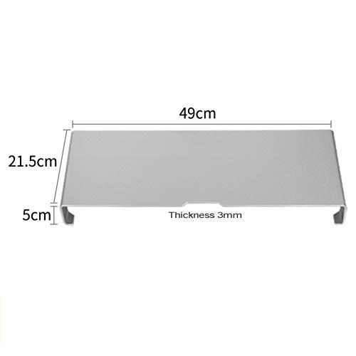 CNZXCO Metal Silicone Non-Slip Computer Stand Riser Monitor Stand Shelf Desk Organizer Save Space Tv Screen Computer Stand for Home Office-Silvery 49x21.5x5cm(19x8x2inch) (Tv Bookcase Lcd)
