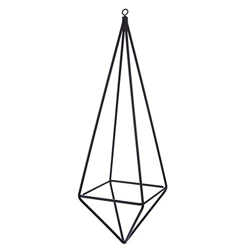 2Pcs 10Inch Triangle Flower Bronze Holder-Iron Plant Support Wall Shelf-Geometric Figure Decor-Geometric Wall Decor Container-Home Decoration for Living Room Bedroom-Home Storage Decor (Black)