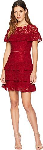 BB Dakota Junior's Aphrodite Tiered Ruffle Dress, Rouge, 10