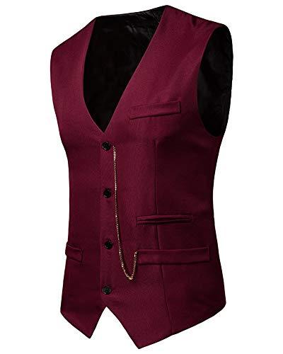 Blazer Slim Colore Senza Uomo Bodeaux Giacca Solido Colletto Fit Maniche V Gilet A UXdXtw