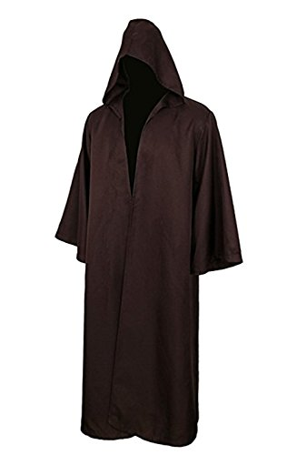 COSFLY Men's Tunic Hooded Robe Halloween Party Cosplay Costume Adult Knight Cool Robe Cloak Cape (XX-Large, Brown) by COSFLY