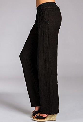 Holgado Corto Lino Largos Negro Mujer Caspar KHS025 para Pantalones de fOC86nq