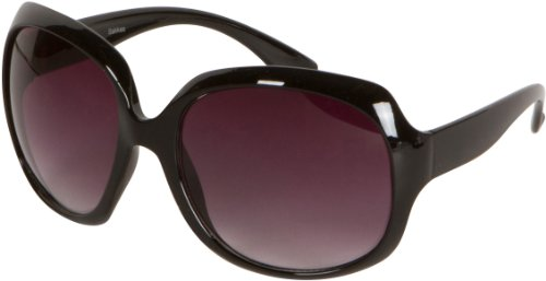 - Sakkas GA4565 Retro Vintage Oversized Frame Fashion Sunglasses - Black - Smoke Lens