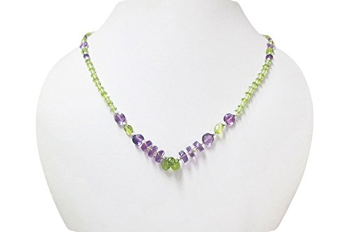 Green Peridot & Amethyst Beads Necklace Strand with 925 Silver Beads & Findings 16