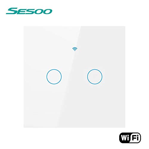 WIFIEUSK302 White SESOO WiFi Smart Touch Switch APP Wireless Remote Light Wall Switch 2Gang Crystal Glass Panel Compatible with Alexa Google Home  (color  WIFIEUSK302 White)