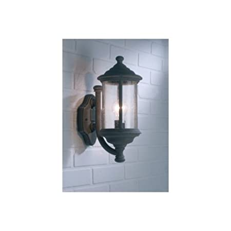 Dar Brompton 1 Light Traditional Outdoor Lantern Wall Light IP43 Rated  Antique Textured Glass Old Iron