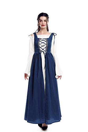 Renaissance Festival Halloween Costumes (ROLECOS Irish Renaissance Costume Womens Medieval Over Dress and Chemise Boho Set Navy Blue)