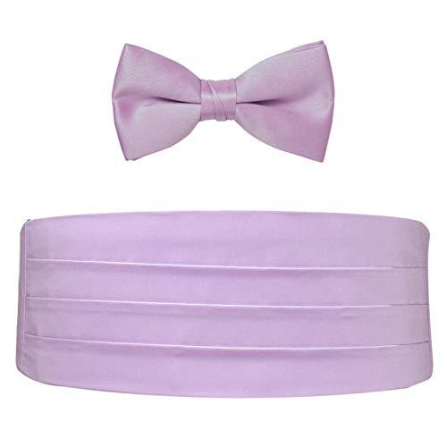 Poly Satin Bow Tie and Cummerbund Set (Lilac) (Lilac Cummerbund)