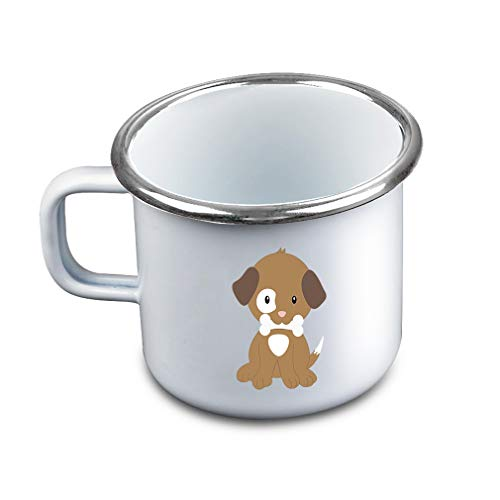 Brown White Puppy Eats Metal Camping Mug Enamel Cup