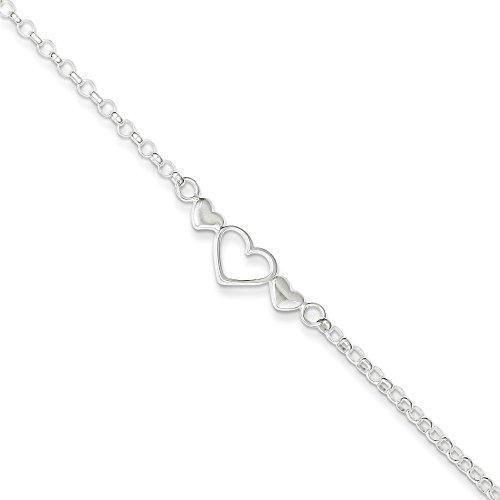 Mia Diamonds 925 Sterling Silver Solid 10inch Polished Triple Heart Anklet Bracelet -10