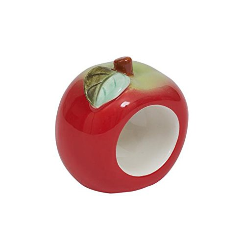 Design Imports Apple Orchard Cotton Table Linens, Hand Painted Ceramic Apple Napkin Rings, Set of 4 -