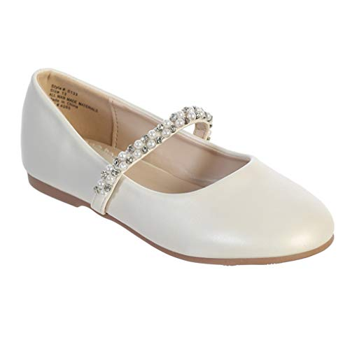 Ivory Toddler Little Girls Big Girls Straps Flower Girls Flat Mary Jane Ballet Shoes Size 5 Big Kid (Kids Dress Shoes Ivory)