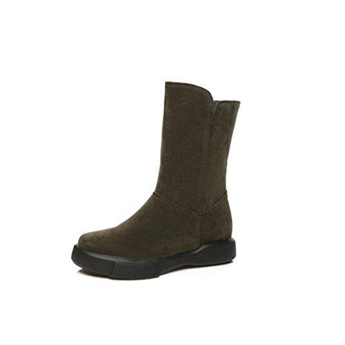 ZQ caliente base plana grandes salvaje Otoño redonda cabeza viento QX e botas femeninas ArmyGreen gruesa de astilleros nieve botas botas Invierno College rw7n8qrH0