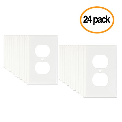 Replacement Outlet Electrical (LoGest Duplex 1 Gang 24 Pack Bulk Contractor White Wall Plates - Metal - Steel - Home Electrical Outlet Cover - Port Replacement Receptacle - Faceplates Covers - Matching screws)