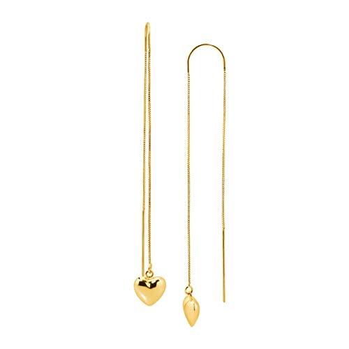 Eternity Gold Drop Heart Threader Earrings in 10K Gold