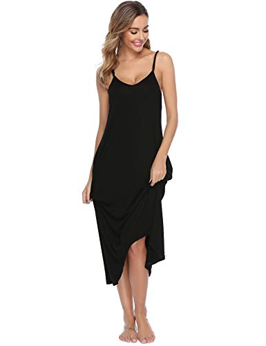 - Sykooria Women's Cotton V Neck Halter Sleeveless Full Slip Long Nightgown Sleepshirt Chemise Dress Black
