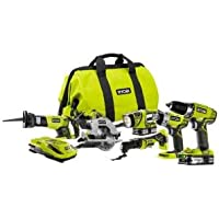 Ryobi P884 18-Volt ONE+ Lithium-Ion Cordless 6-Tool Combo Kit with (2) 1.5 Ah LITHIUM+ Batteries, Dual Chemistry Charger, and Bag