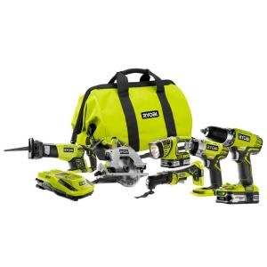 - Ryobi P884 One+ Combination Lithium Ion Cordless Power Tool Set (6 x Power Tools, 2 x Compact Lithium Ion Batteries, 1 x Charger, 1 x Contractor's Bag)