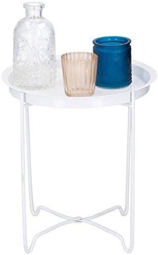 Mesa auxiliar blanco con decoración – Metal Bandeja Mesa ...