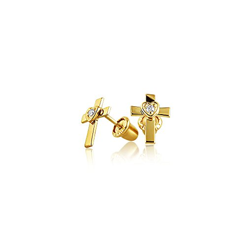 Cross 14k Gold Baby (CZ Cross Heart Baby Safety Screwback Stud earrings 14k Gold 3mm)