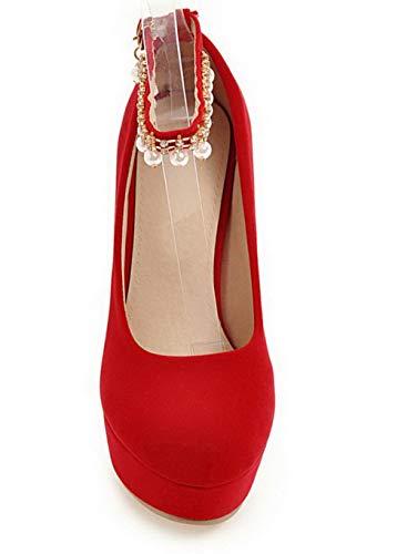 Tacón Tacón Redonda Rojo gmxdb005806 Alto Agoolar Zapatos Pu De Mujeres Puntera 8q8RIO
