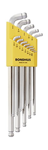 Bondhus 77037 Stubby Double Ball End L-Wrench Set with Brite
