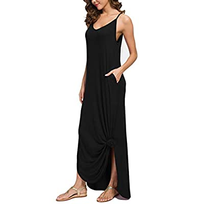 GRECERELLE Women's Summer Casual Loose Dress Beach Cover Up Long Cami Maxi Dresses with Pocket at Women's Clothing store