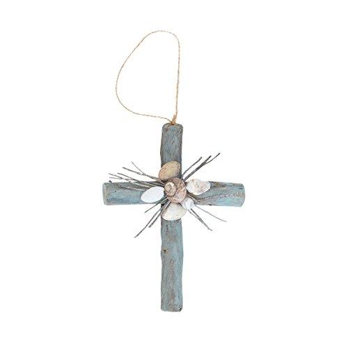 Seafoam Driftwood Cross Ornament (Driftwood Christmas Ornaments)