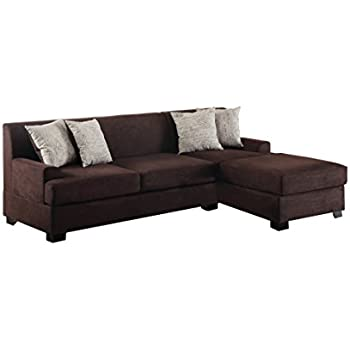 Poundex Bobkona Samuel Microsuede 3 Seat Reversible Sectional Sofa,  Chocolate